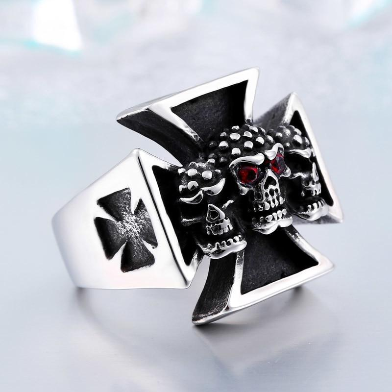 Cross Titanium Steel Man's High Quality Red Eye Skull Ring - BrapWrap