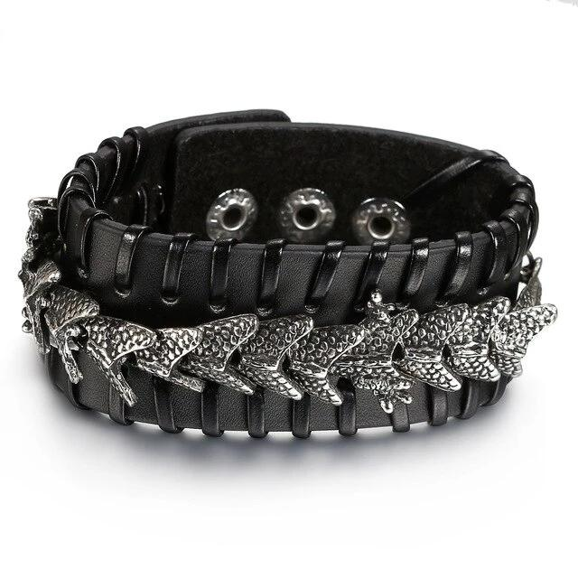 Black Leather Dragon Wide Bracelet - BrapWrap