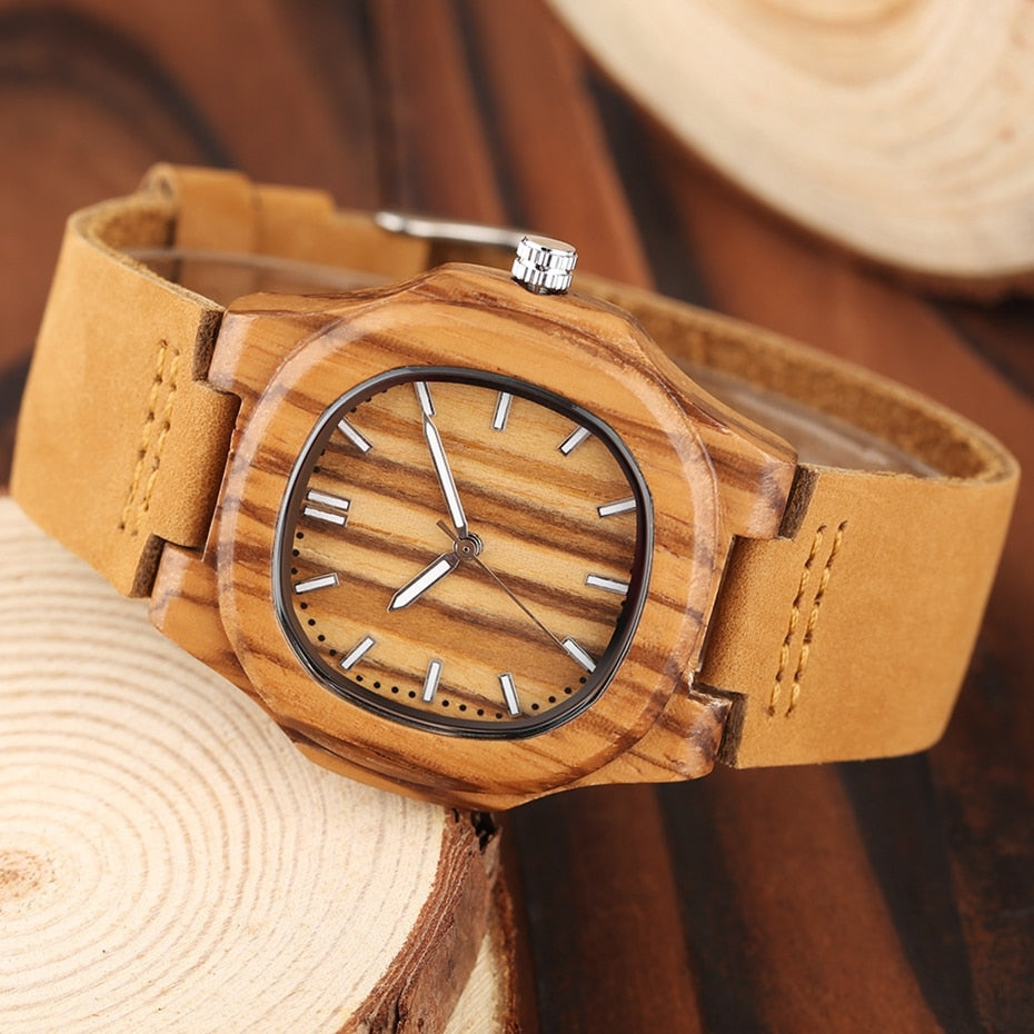 Wooden Face Leather Strap Watch