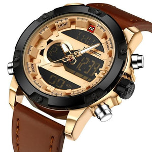 Analog Digital Tech Sports Leather Strap Watch