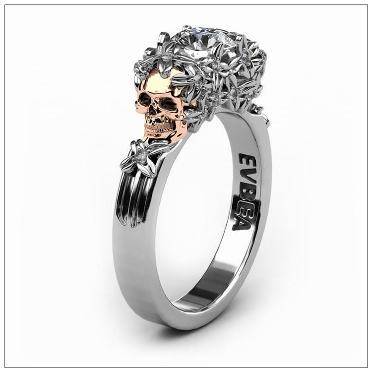Elegant Rose Gold Skull Ring For Women