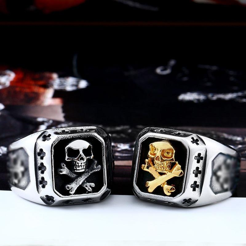 Limited Edition Biker Skull Ring - Vintage Square Face - BrapWrap