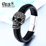Black Skull High Quality Bracelet for Bikers