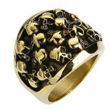 Embossed Multi Skull Biker Rings - Several Colors