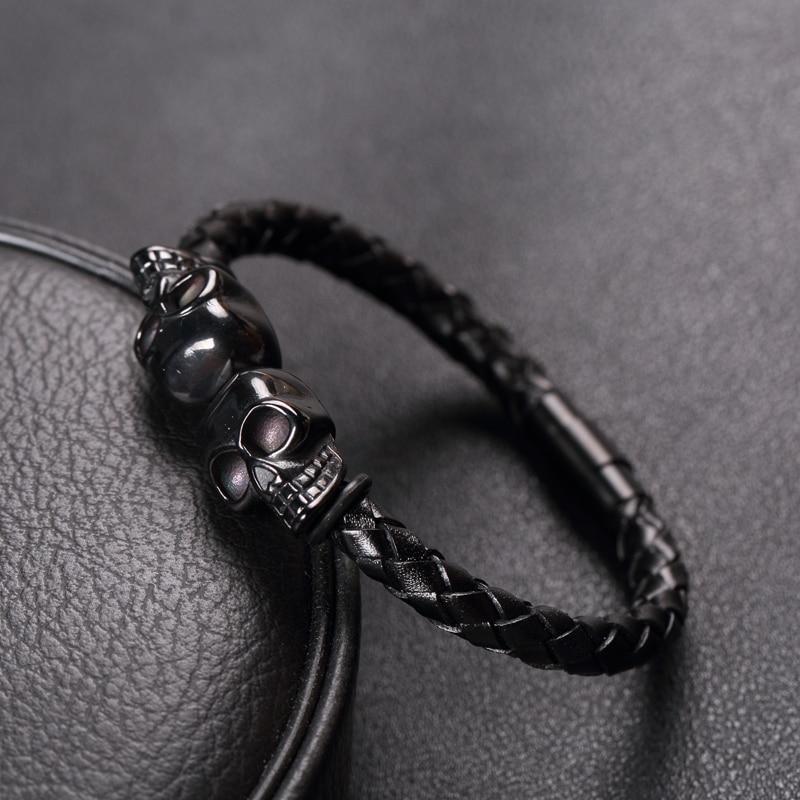 Black Braided Skull Leather Bracelets