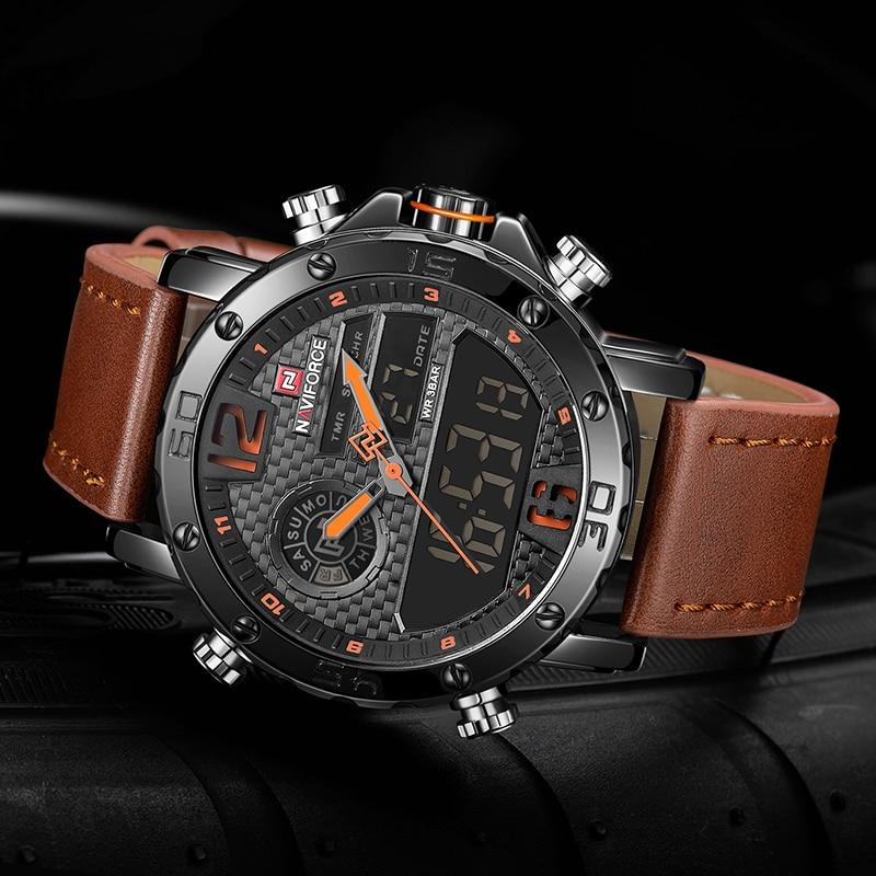 Digital Chronograph Leather Strap Watch for Bikers