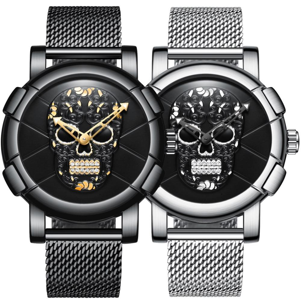 GIMTO Skull Men Watch 3D Pattern Design Wristwatch