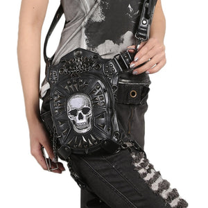 Skull Leather Leg Side Bag for Rider