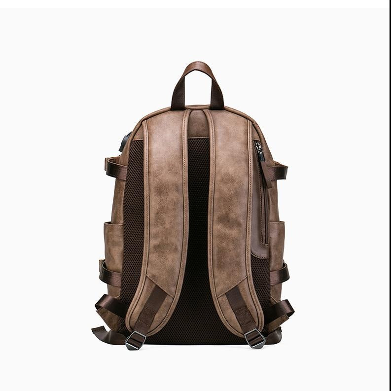USB Charging Anti theft Leather Backpack Bag