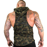 Mens Camouflage Military Print Hooded Tank Top - BrapWrap