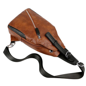 Leather Magnetic Button Chest Bags With Headphone Hole
