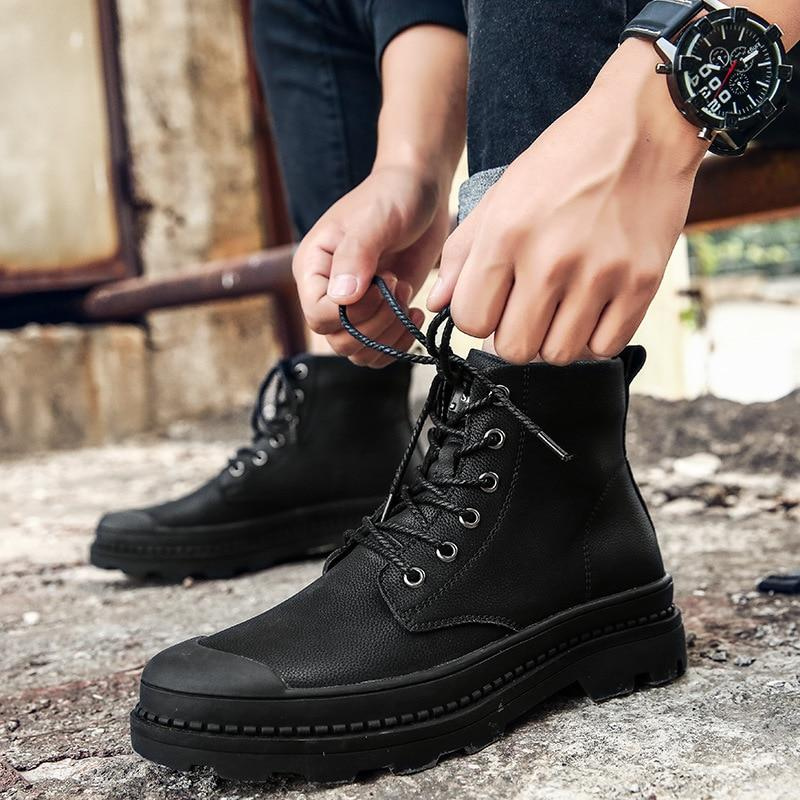 Black Leather Casual Boots
