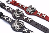 Ride to Live Bird Skull Genuine Leather Bracelet for Bikers
