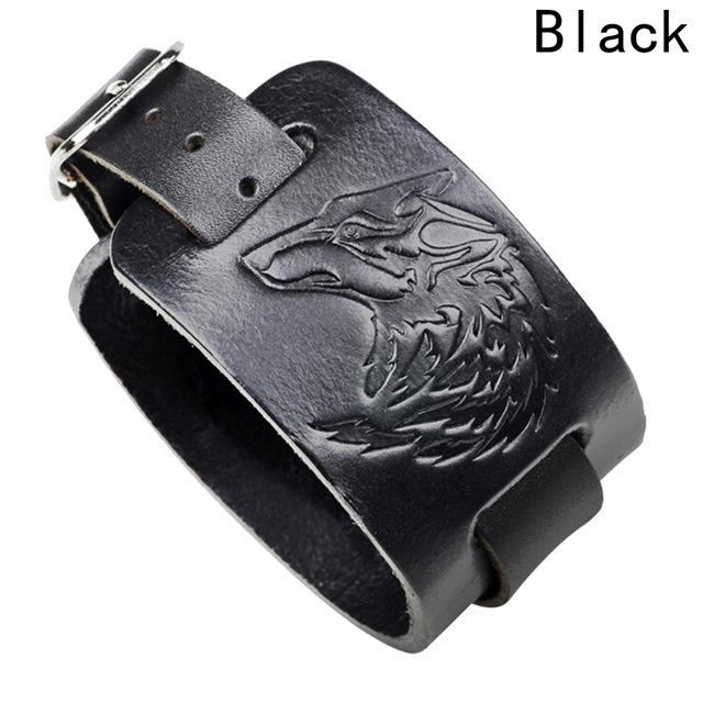 Genuine Black Brown Leather Wolf Head Bracelet