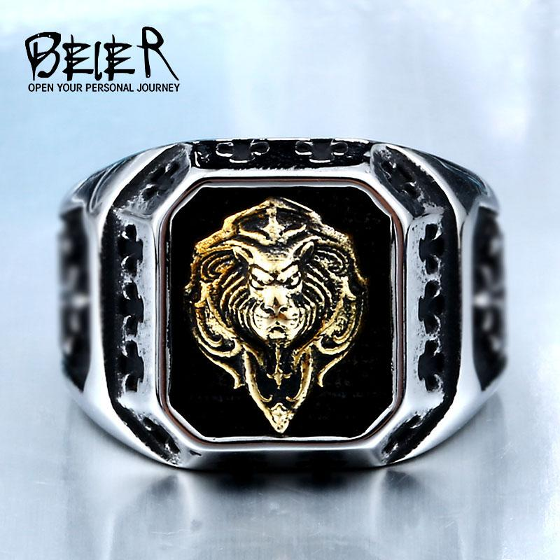 Gold Lion Head Fashion Top Quality Rings