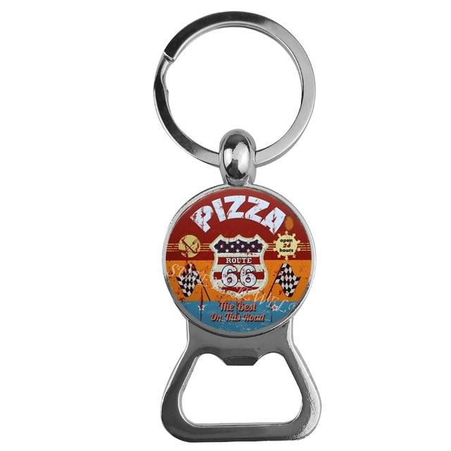 Classic USA Route 66 Bottle Opener Key Chain - BrapWrap