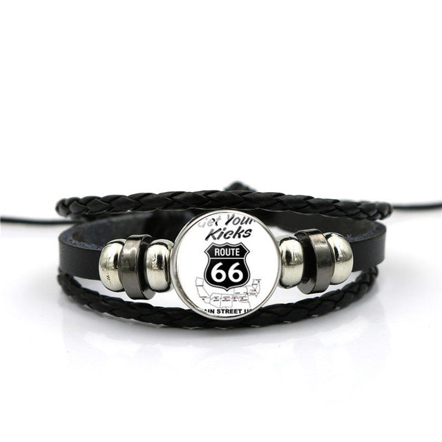 Route 66 Sign Leather Bracelet - Type A