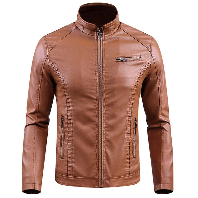Slim Fit Leather Thermal Outwear Jackets for Moto Riders