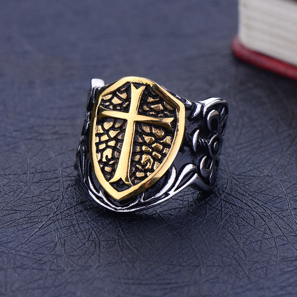 Shield Cross Biker Ring