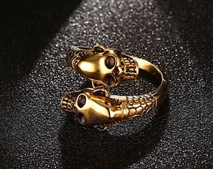 Double Skull Ring for Bikers