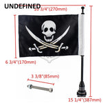 Pole Black Silver Aluminum Mount American Skull Flag for Bikers