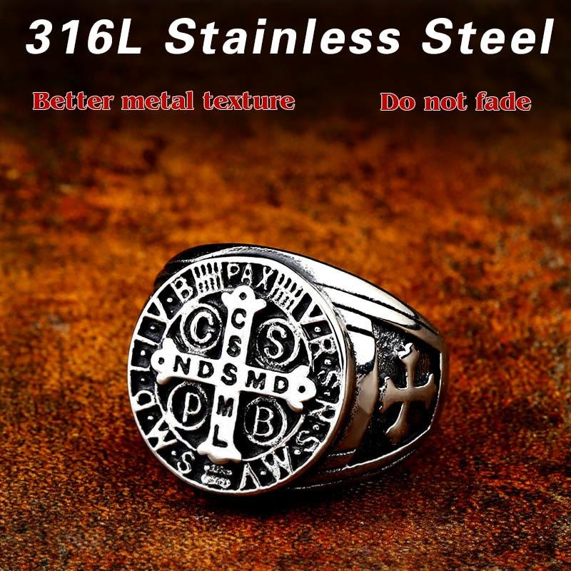 Ancient Letter Cross Steel Ring