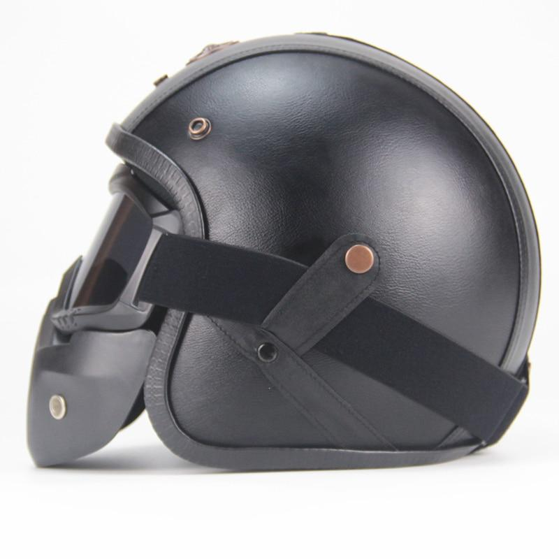 DELUXE LEATHER HELMET 3/4 - VINTAGE STYLE