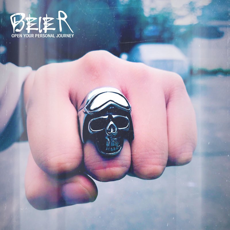 Stainless Motorcycle Biker Skull Ring
