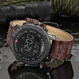 Digital Sports Watch with Leather Strap For Bikers