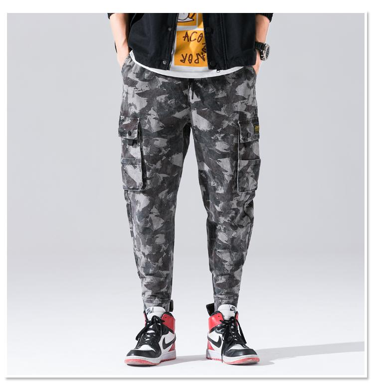 Grey Military Style Cargo Joggers