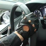 Genuine Leather Driving Unlined Finger Less Gloves - BrapWrap