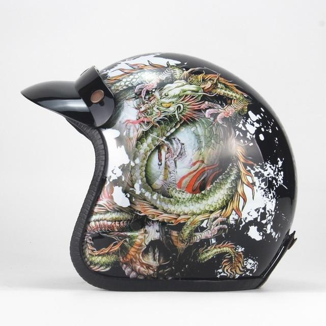 PU LEATHER VINTAGE STYLE OPEN FACE DELUXE LEATHER HELMET 3/4 - BrapWrap