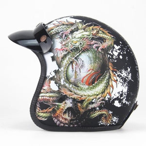PU LEATHER VINTAGE STYLE OPEN FACE DELUXE LEATHER HELMET 3/4