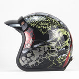 Deluxe Vintage Style Open Face Leather 3/4 Helmet - BrapWrap