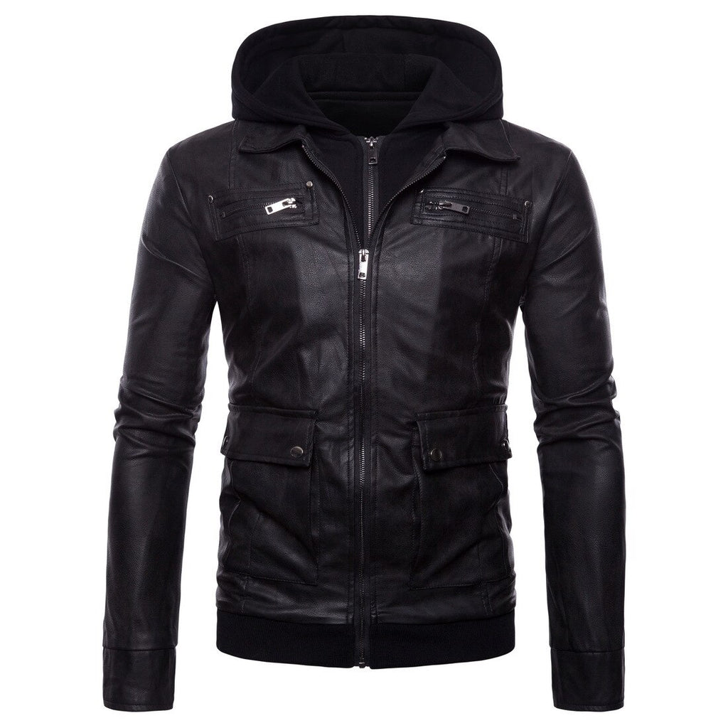 Hooded  Moto Rider Leather Jacket - BrapWrap