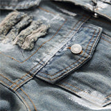 American Eagle Embroidered Ripped Jeans Jacket - BrapWrap