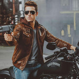 Genuine Leather Motorcycle Jacket with Removable Hood
