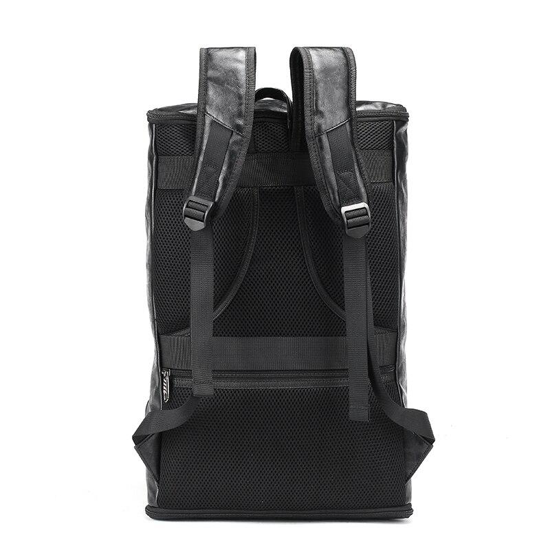 Black PU leather Backpack For Riders - BrapWrap