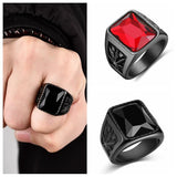Black/Red Stone Fashion Ring