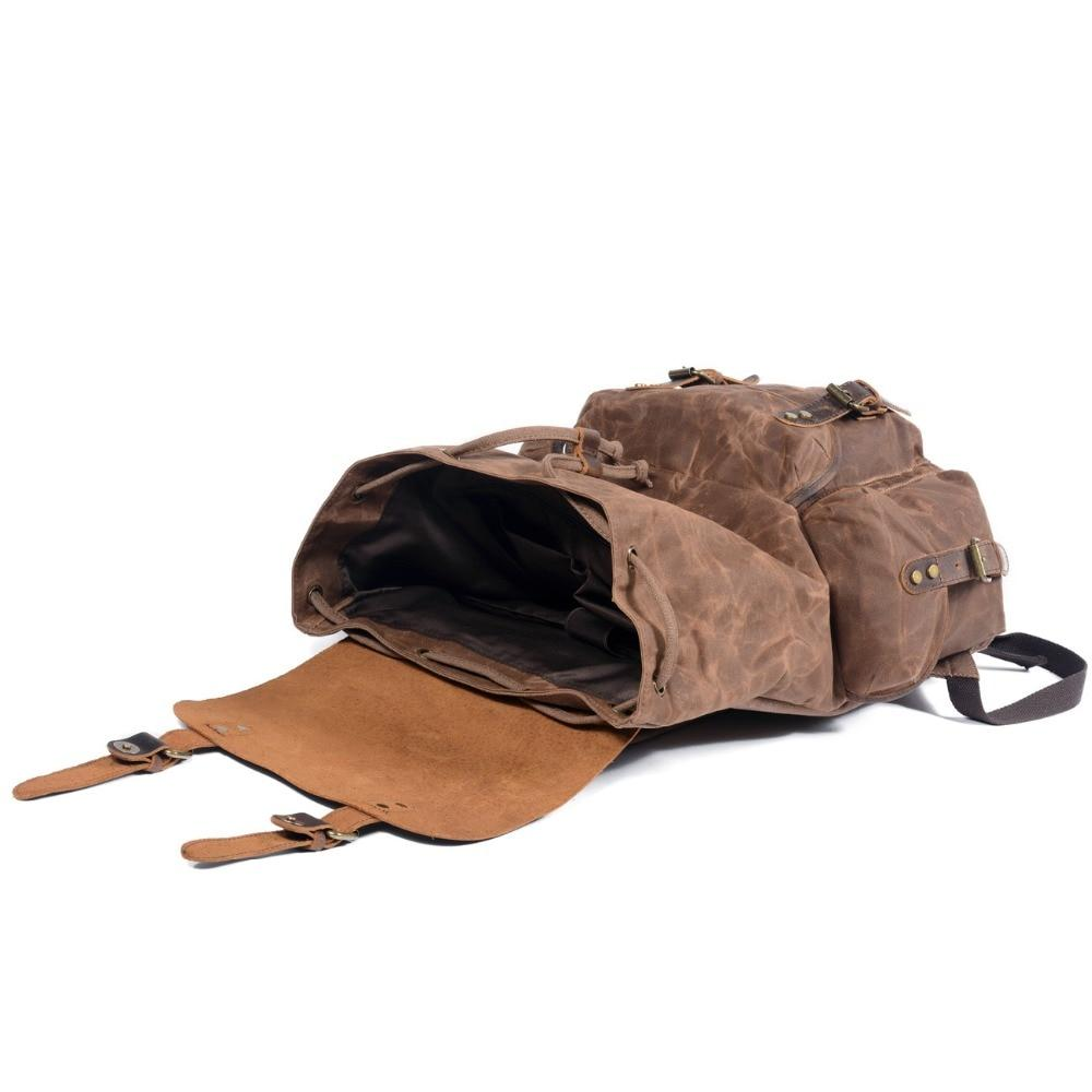 Multi Function Casual Canvas Vintage Wax Leather Backpack