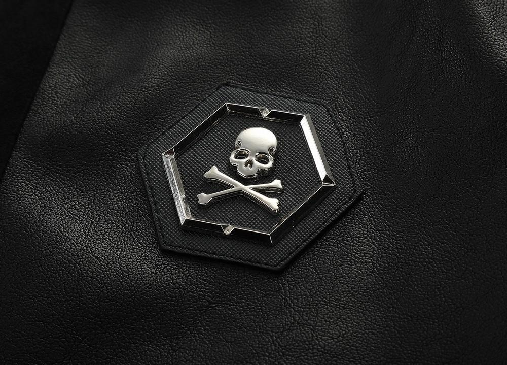 Black PU Leather Skull Print Rider Jacket