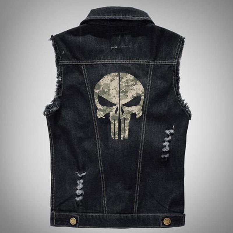 Med - 6XL Denim Vest with Ghost Rider Skull - BrapWrap