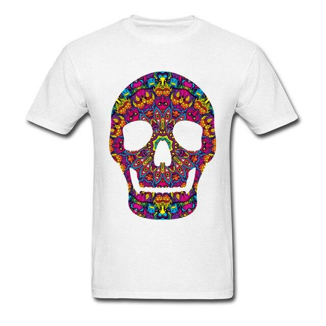 Colored Psychedelic Skull Print T-Shirt - BrapWrap