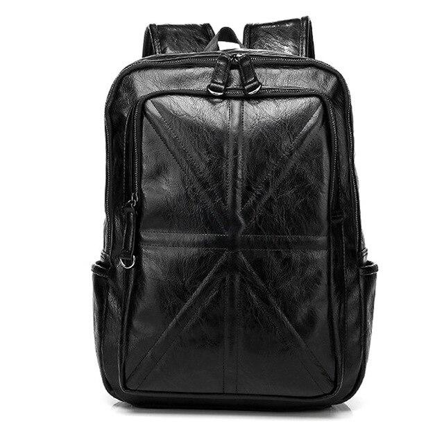 PU Leather Black Retro Backpack - BrapWrap