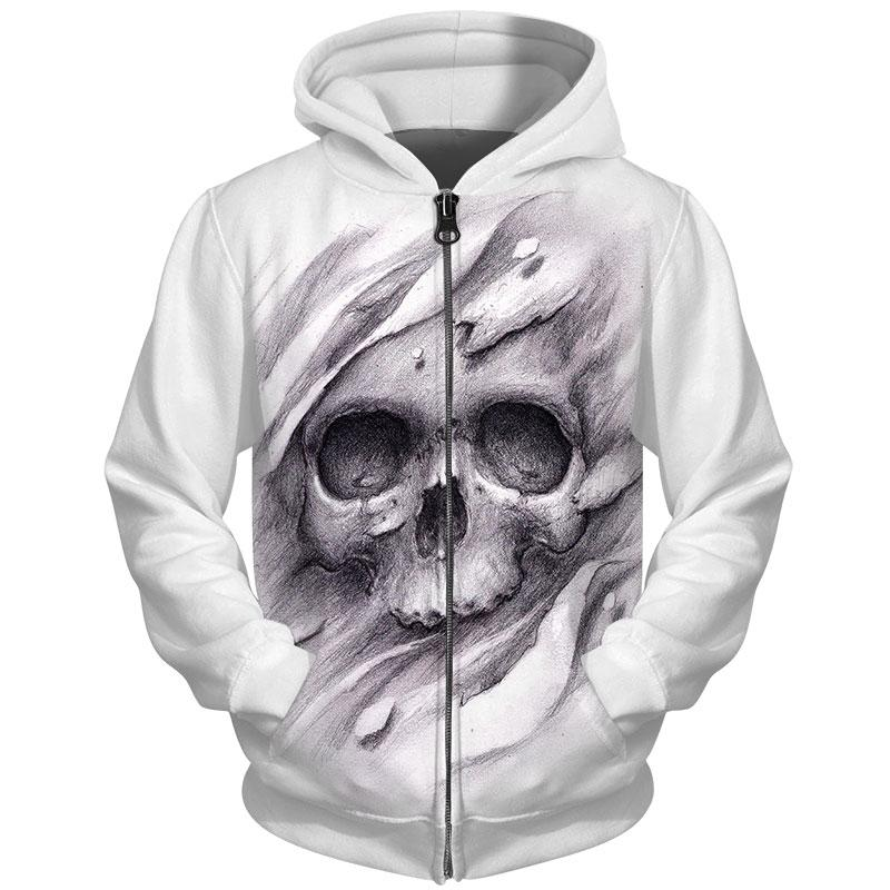 3D Melted Skull Hoodie