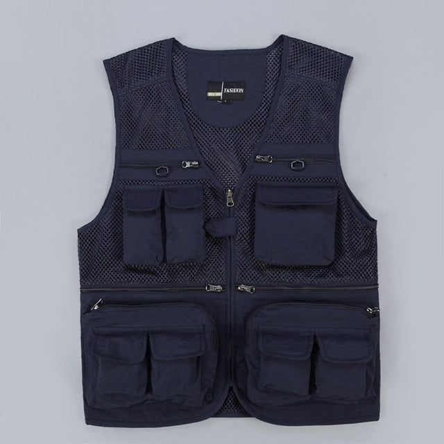 Tactical Fashion Waistcoat Mesh Work Multi Pocket Jacket