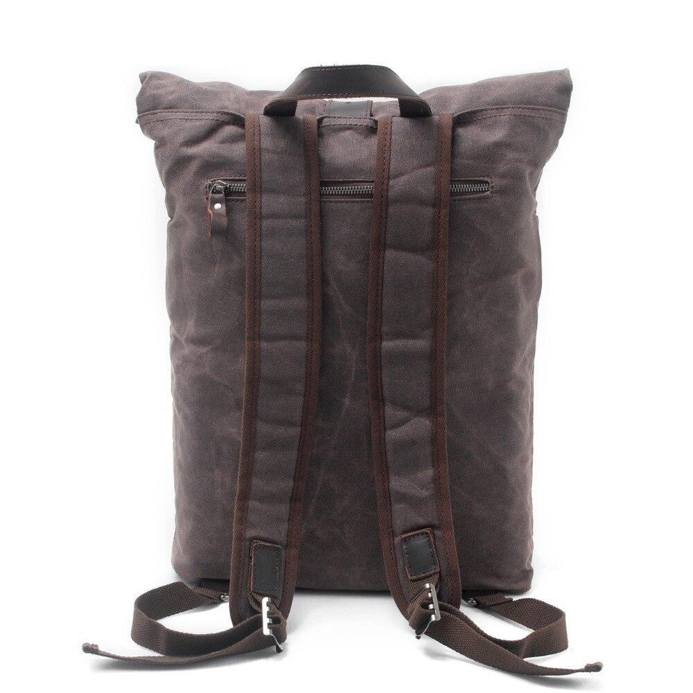Fashion Canvas Wax Leather Backpack - BrapWrap