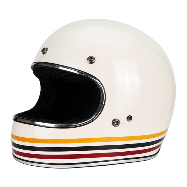 White Stripe Retro Full Face Vintage Look DOT Approved Helmet