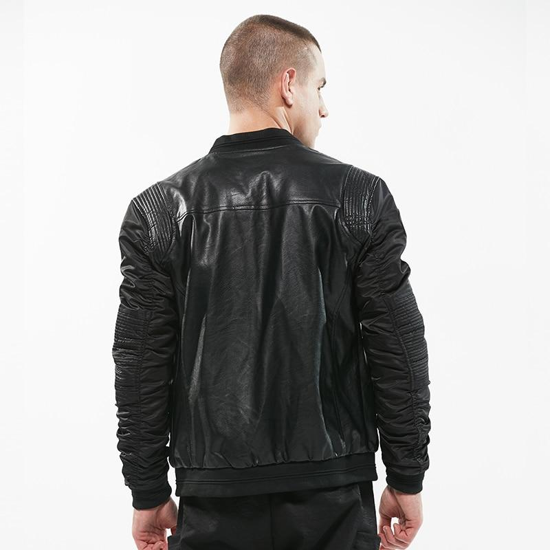 Leather Bomber Patchwork Casual Jacket - BrapWrap