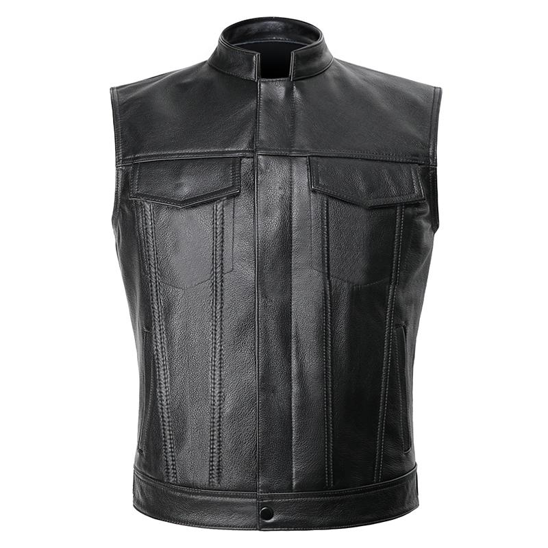 Black Live To Ride Leather Motorcycle Vest Jacket - BrapWrap